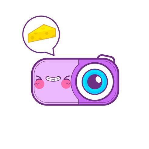 lindo emoticon de pegatina de cámara vector