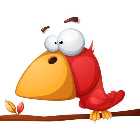 Ilustração de pássaro bonito, engraçado, louco.