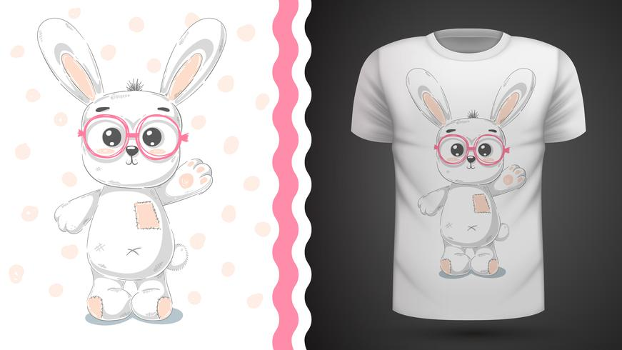 Cute rabbit - idea for print t-shirt. vector