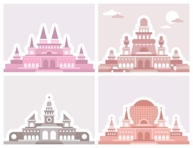 Disegno vettoriale di quattro palazzi
