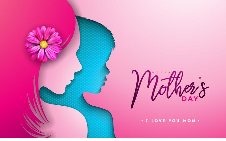 Happy Mothers Day Greeting card design with woman and child face silhouette