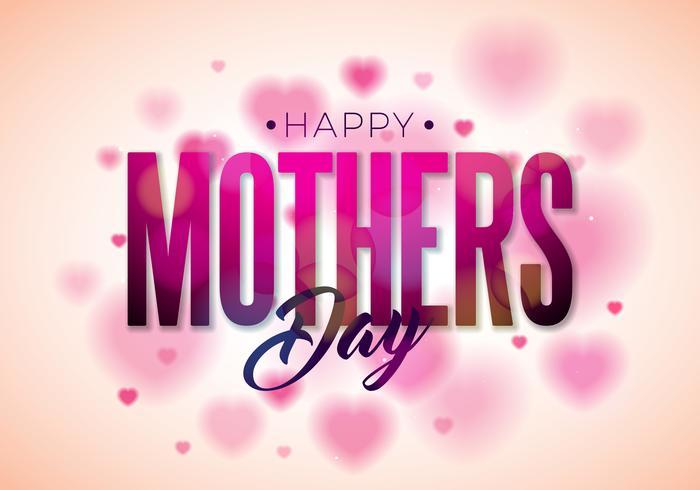Conception de carte de voeux bonne fête des mères avec fleur et éléments typographiques sur fond de coeur.