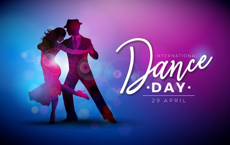 Ejemplo internacional del vector del día de la danza con los pares del baile del tango en fondo púrpura. Plantilla de diseño