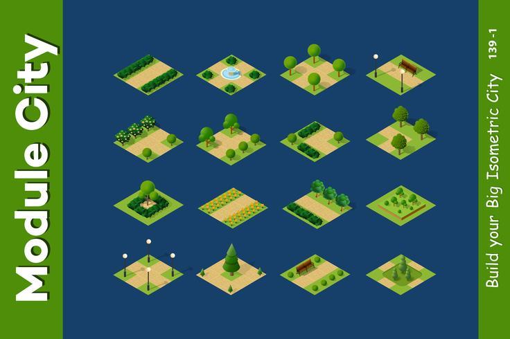 Parco set isometrico 3D