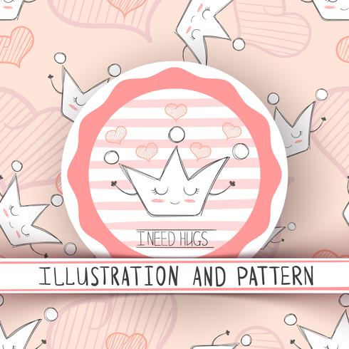 Cartoon crown characters. Cute illustration and pattern.
