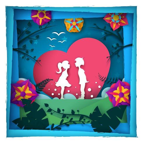 Amore della ragazza e del ragazzo - illustrazione di carta.
