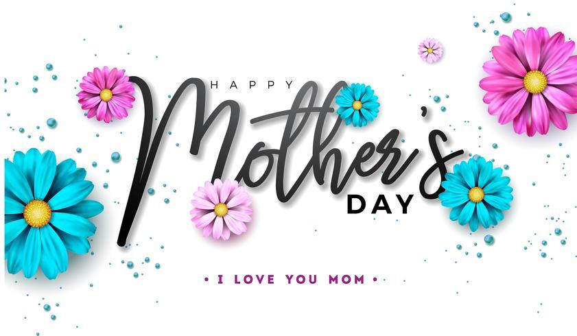 Conception de carte de voeux bonne fête des mères avec lettre de fleur et typographie