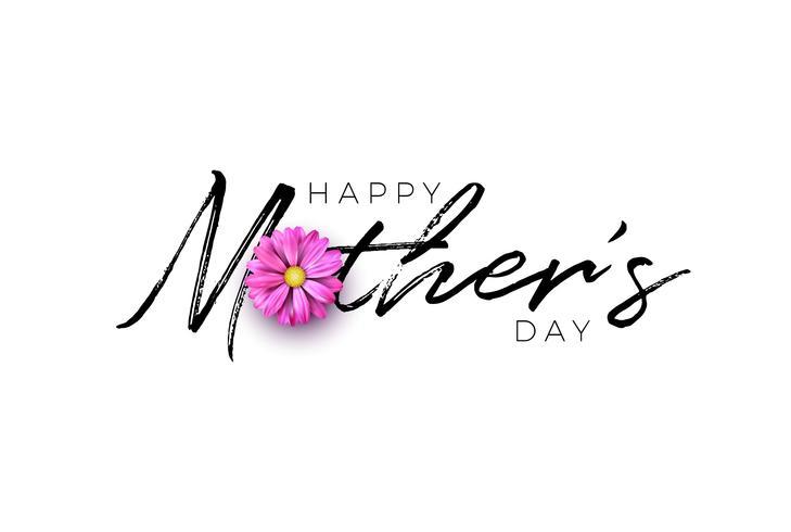 Conception de cartes de voeux bonne fête des mères avec lettre de fleur et typographie