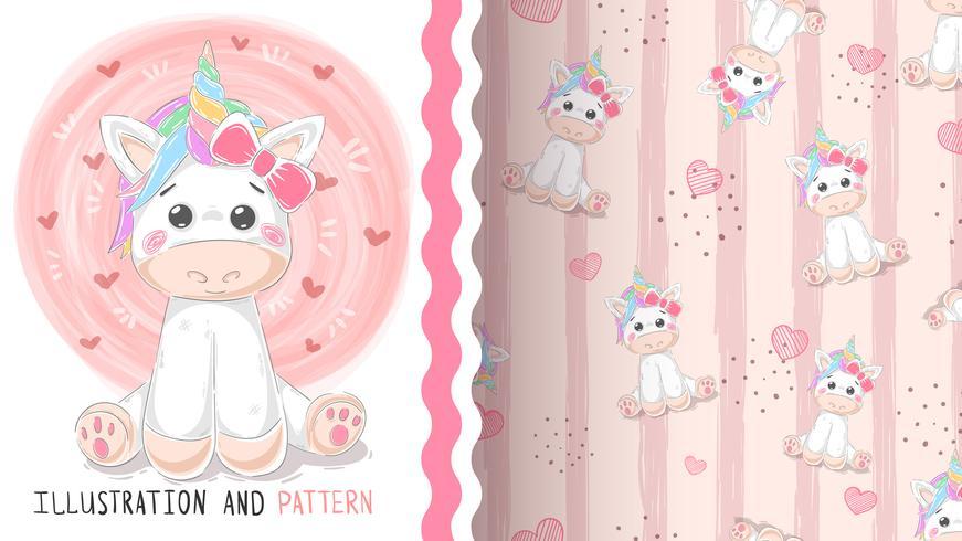Cute magic unicorn - seamless pattern