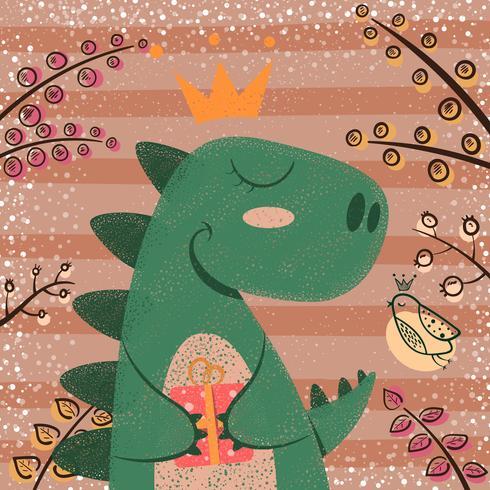 Söt, roligt, galet dinosauriefigur.