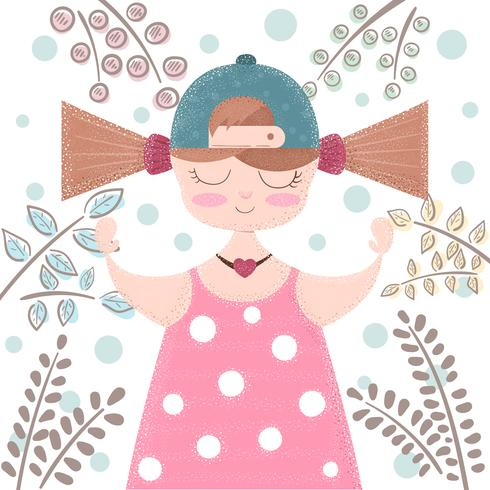 Linda, hermosa niña ilustración de dibujos animados
