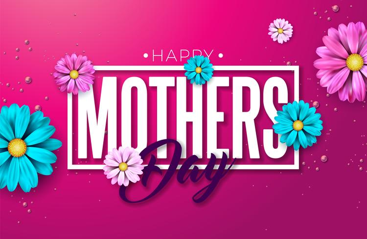 Happy Mothers Day Greeting card design with flower and typographiy letter
