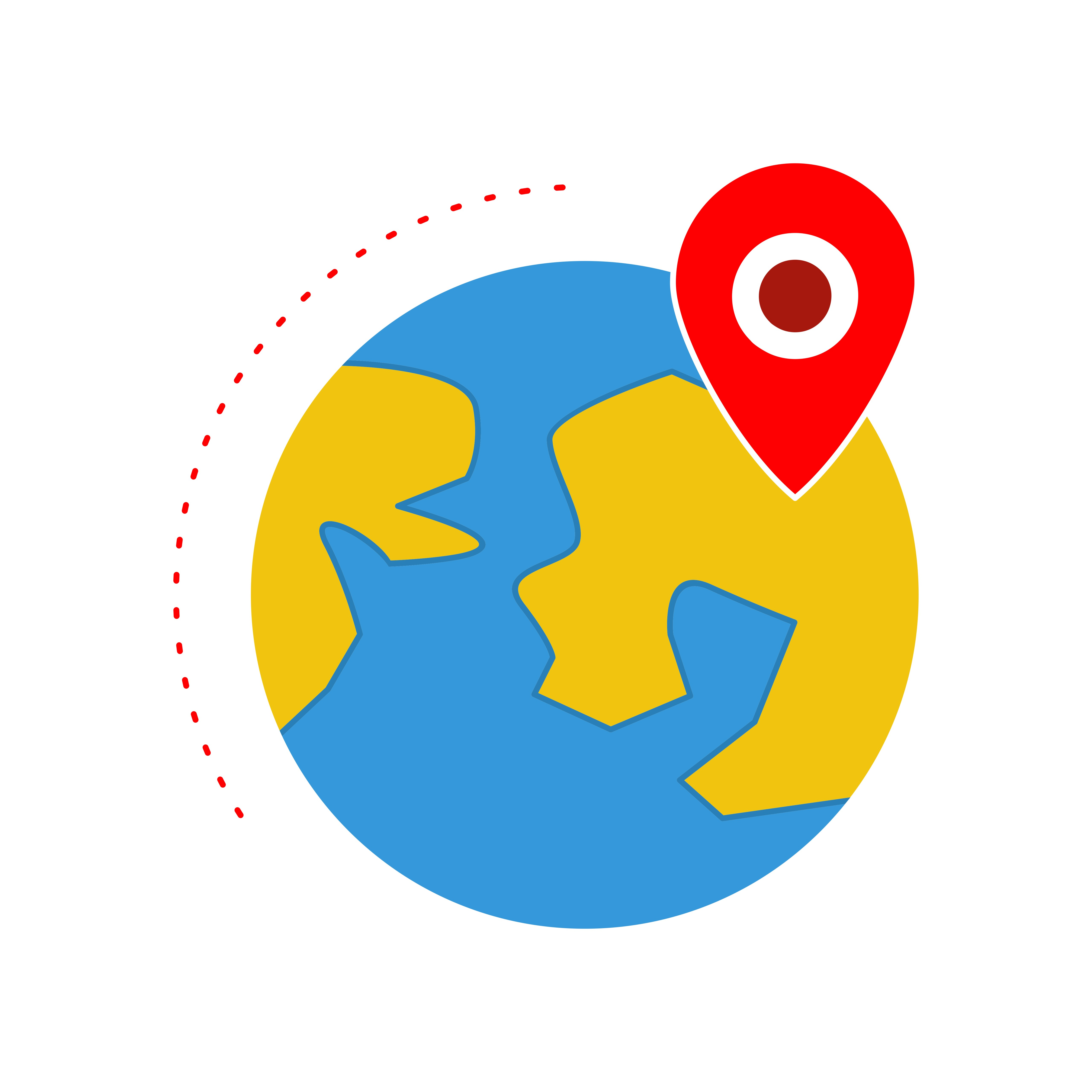 Location on Earth Flat Multi color icon - Download Free ...
