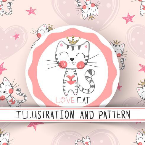 Gullig katt - tecknad film sömlöst mönster