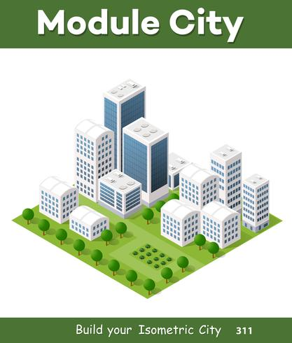 Vector de arquitectura urbana isométrica