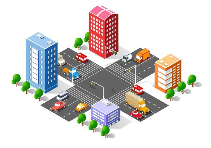Stadt isometrische 3D-Kreuzung