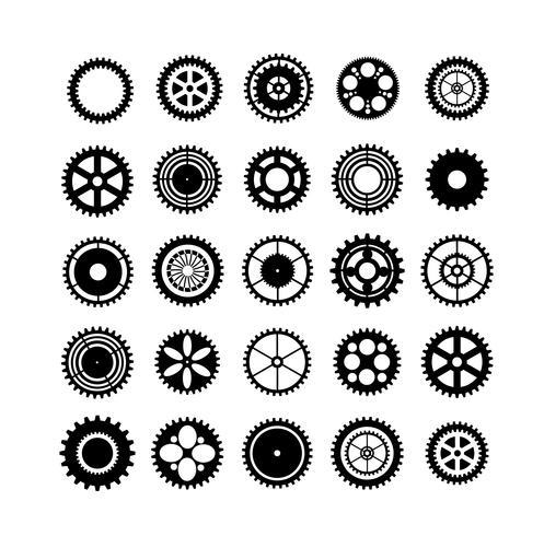 Set di ingranaggi sagome vettore