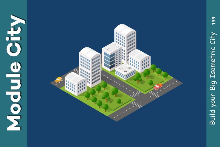 Conjunto de rascacielos isométricos de calle.