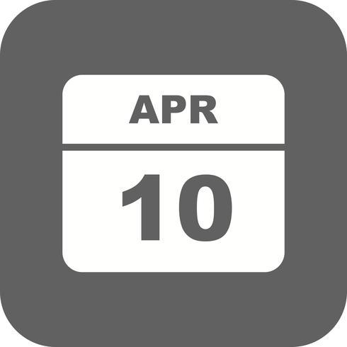 10 de abril Data em um calendário de dia único