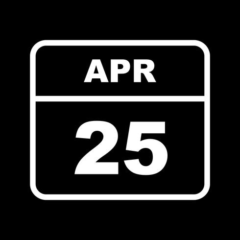 April 25th Date on a Single Day Calendar