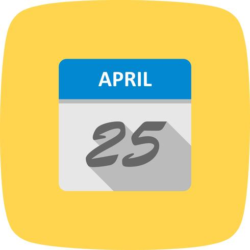 Data de 25 de abril em um calendário de dia único
