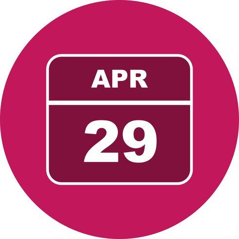 Fecha del 29 de abril en un calendario de un solo día vector