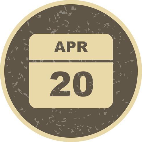 20 de abril Data em um calendário de dia único