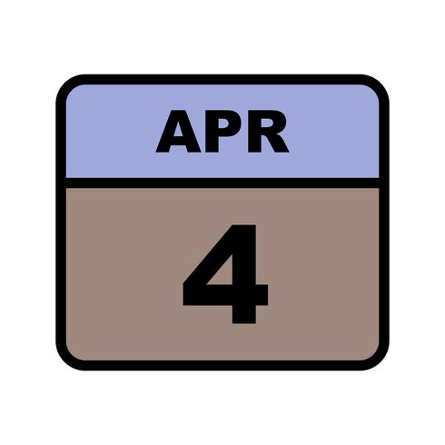 4 april Datum op een eendaagse kalender vector