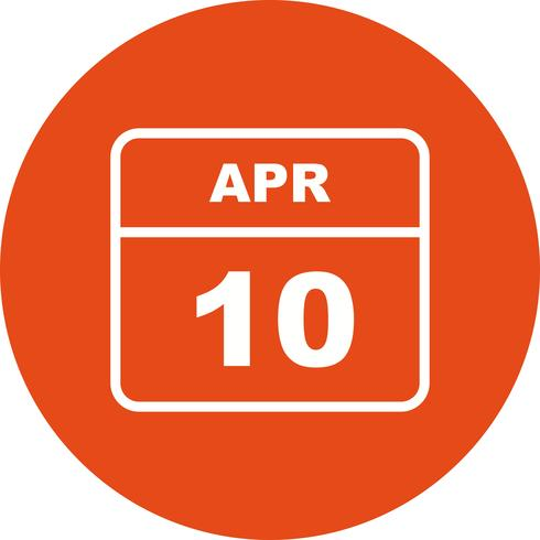 10 aprile Data su un calendario per un solo giorno