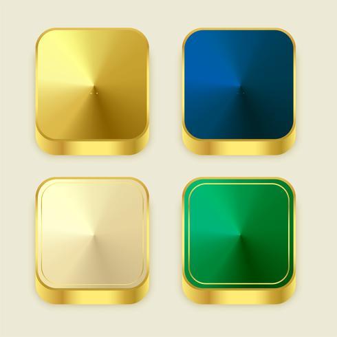 pulsanti quadrati dorati lucidi di alta qualità