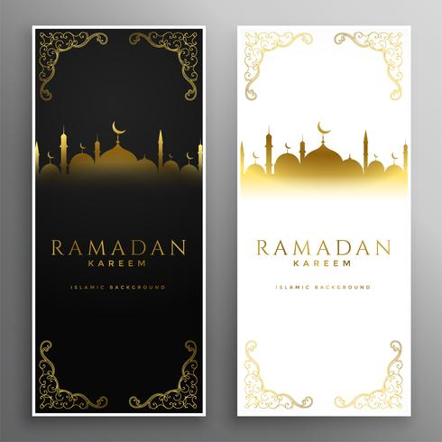 ljusa och mörka ramadan kareem islamiska banderoller