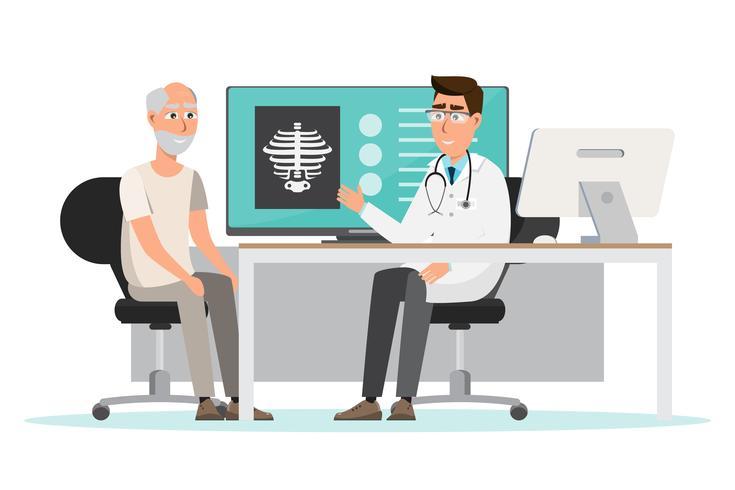 medizinisches Konzept Arzt und Patient im Krankenhausinnenraum