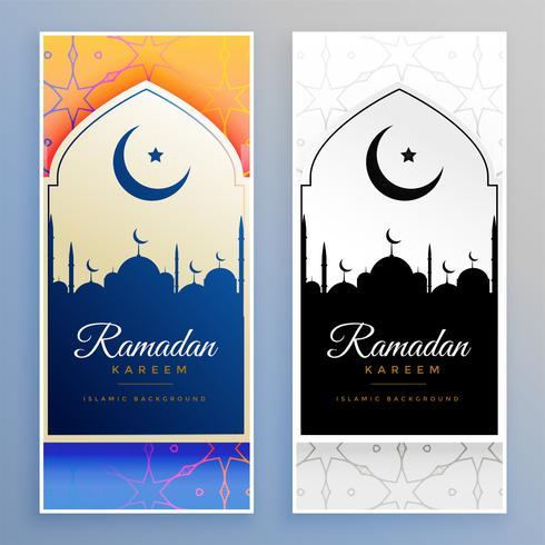ramadan kareem vackra banderoller uppsättning