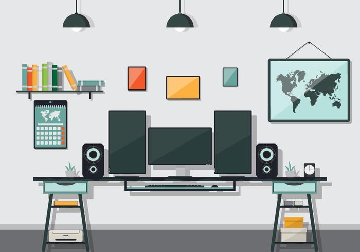 illustrazione vettoriale di ufficio studio