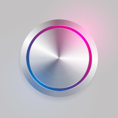 Botón circular de metal cepillado 3d realista
