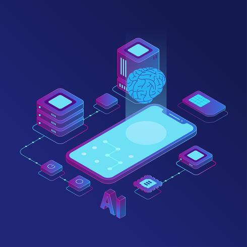 Isometric Artificial Intelligence  Vector Illustration