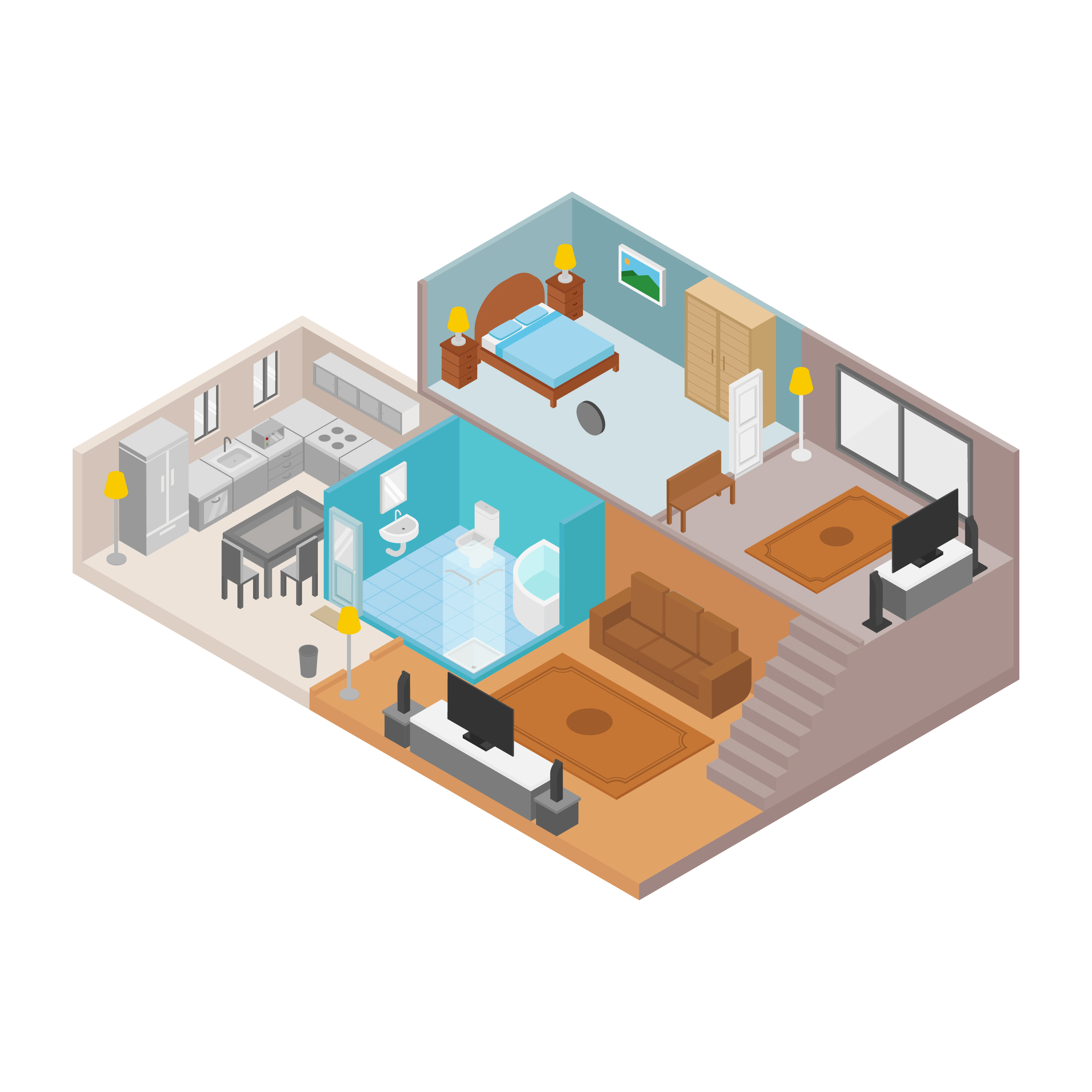 Isometric house vector illustration download free vector for Home design 3d professional italiano gratis