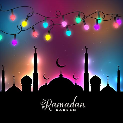 festival coloré lumières décoratives ramadan kareem fond