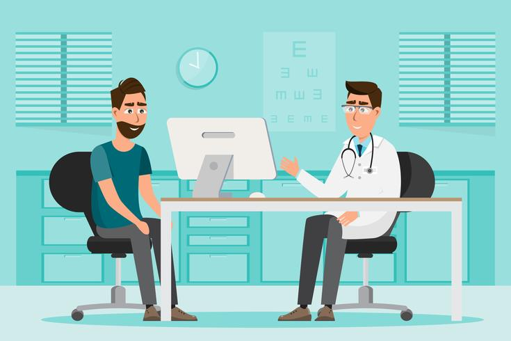 medical concept. doctor and patient in hospital interior room vector