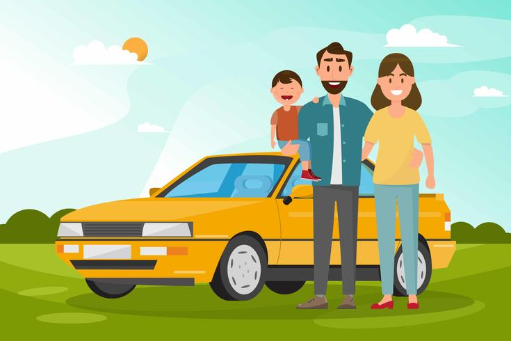 Happy family. Father, mother and children going to travel by car with nature background