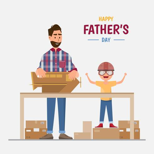 Happy father's day. Dad and his son making a plane from box