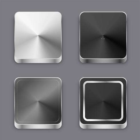 realistico 3d pulsanti in metallo spazzolato o set di icone