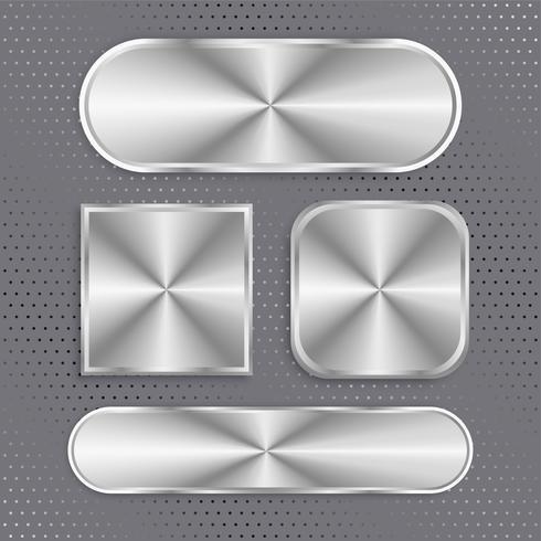 set van metalen knoppen met geborsteld oppervlak
