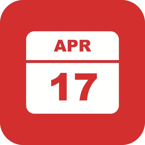 17 april Datum på en enkel dagskalender vektor
