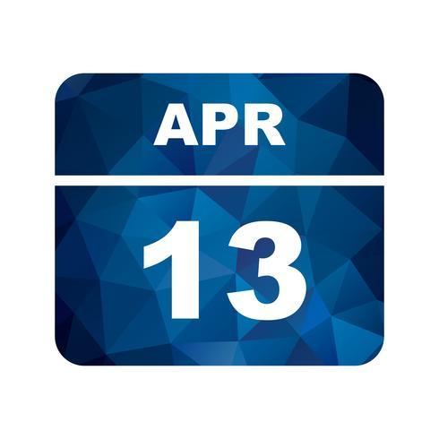 13 de abril Fecha en un calendario de un solo día