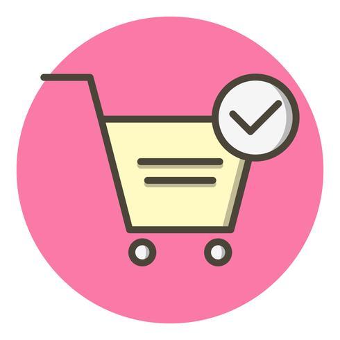 ontwerp van het pictogram van geverifieerde winkelwagen-items