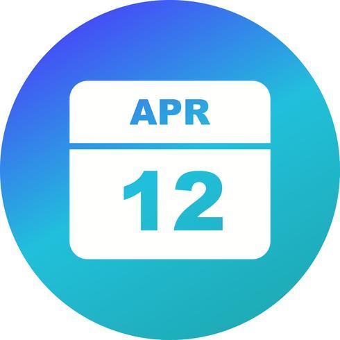 12 april Datum op een eendaagse kalender vector
