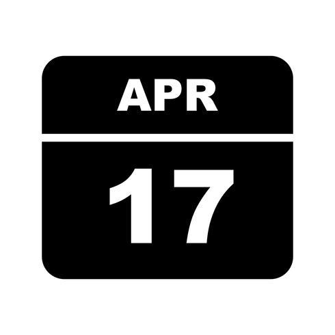 17 avril Date sur un calendrier d'une journée