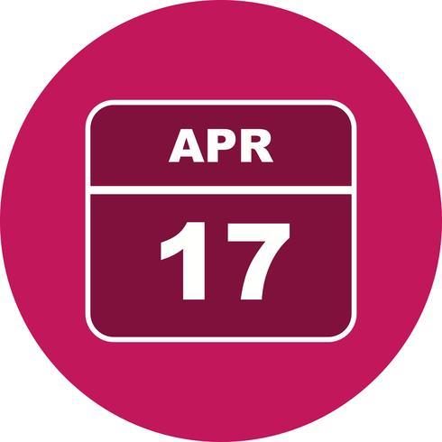 17 de abril Fecha en un calendario de un solo día
