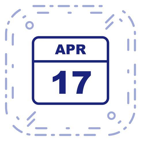 17 april Datum op een eendaagse kalender vector